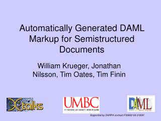 Automatically Generated DAML Markup for Semistructured Documents