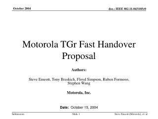Motorola TGr Fast Handover Proposal