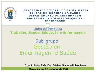 UNIVERSIDADE FEDERAL DE SANTA MARIA CENTRO DE CIÊNCIAS DA SAÚDE DEPARTAMENTO DE  ENFERMAGEM