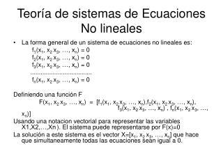 Teoría de sistemas de Ecuaciones No lineales