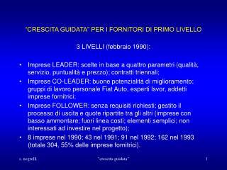 �CRESCITA GUIDATA� PER I FORNITORI DI PRIMO LIVELLO