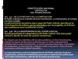CONSTITUCIÓN  NACIONAL CAPITULO  III DEL PODER JUDICIAL