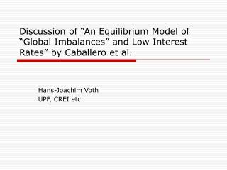 Hans-Joachim Voth UPF, CREI etc.