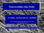 Nanocrystalline Zinc Oxide