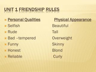 Unit  1  Friendship Rules