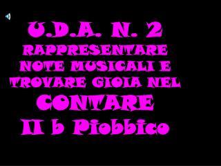 U.D.A. N. 2 RAPPRESENTARE NOTE MUSICALI E TROVARE GIOIA NEL  CONTARE  II b Piobbico