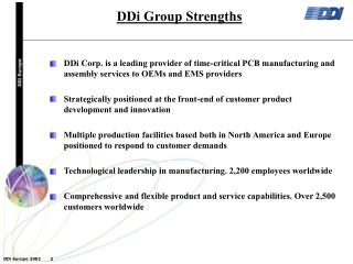 DDi Group Strengths