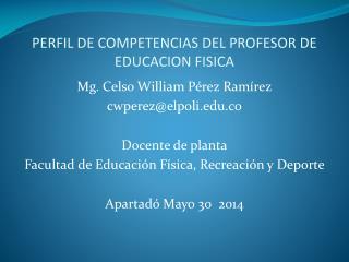 PERFIL DE COMPETENCIAS DEL PROFESOR DE EDUCACION FISICA