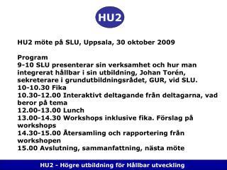 HU2 - Högre utbildning för Hållbar utveckling