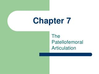 The Patellofemoral Articulation