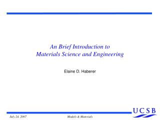 An Brief Introduction to  Materials Science and Engineering