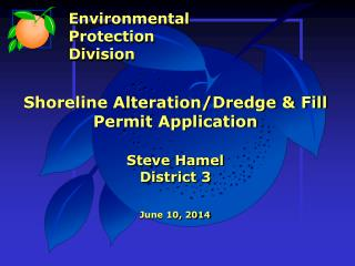 Shoreline Alteration/Dredge & Fill Permit Application Steve Hamel District 3