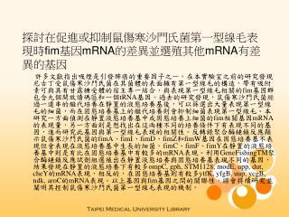 探討在促進或抑制鼠傷寒沙門氏菌第一型線毛表現時 fim 基因 mRNA 的差異並選殖其他 mRNA 有差異的基因