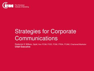 Strategies for Corporate  Communications