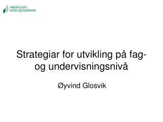 Strategiar for utvikling på fag- og undervisningsnivå