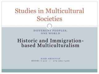 Studies in Multicultural Societies