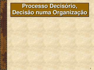 Processo Decisório, Decisão numa Organização
