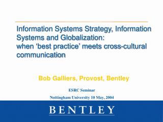 ESRC Seminar Nottingham University 10 May, 2004
