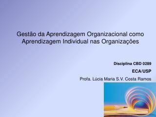 Gestão da Aprendizagem Organizacional como Aprendizagem Individual nas Organizações