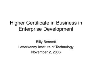 Higher Certificate in Business in Enterprise Development