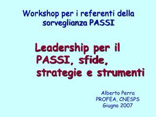 Workshop per i referenti della sorveglianza PASSI