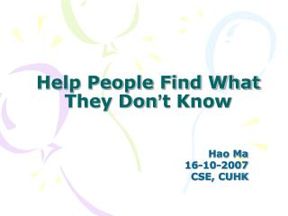 Help People Find What They Don ' t Know