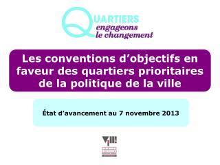 Les conventions d'objectifs en faveur des quartiers prioritaires de la politique de la ville