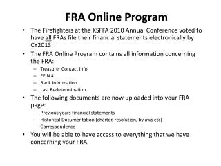 FRA Online Program