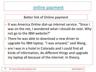 Useful information about  online payment