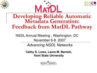 Developing Reliable Automatic Metadata Generation:   Feedback from MatDL Pathway