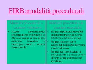 FIRB:modalità procedurali