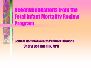 Recommendations from the  Fetal Infant Mortality Review  Program
