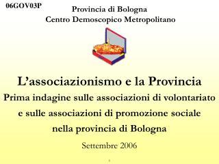 Provincia di Bologna  Centro Demoscopico Metropolitano