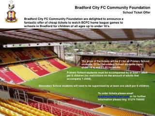 Bradford City FC Community Foundation School Ticket  O ffer