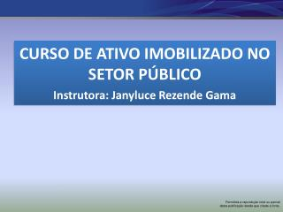 CURSO DE ATIVO IMOBILIZADO NO SETOR PÚBLICO Instrutora:  Janyluce  Rezende Gama
