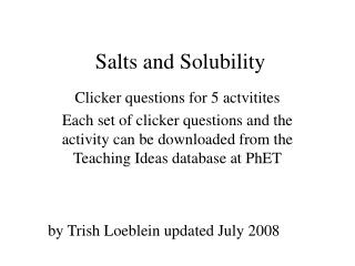 Salts and Solubility