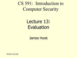 Lecture 13: Evaluation