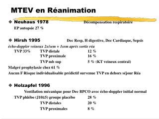 MTEV en Réanimation