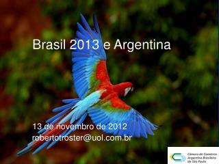 Brasil 2013 e Argentina 13  de novembro  de 2012    robertotroster@uol.br