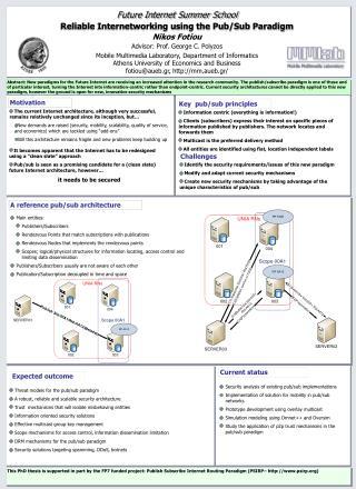 Reliable Internetworking using the Pub/Sub Paradigm Nikos Fotiou Advisor: Prof. George C. Polyzos