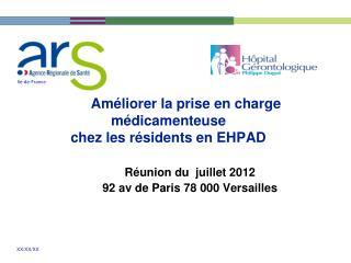 Améliorer la prise en charge  médicamenteuse chez les résidents en EHPAD
