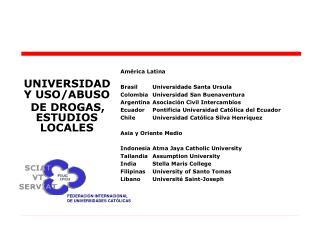 UNIVERSIDAD Y USO/ABUSO      DE DROGAS, ESTUDIOS LOCALES