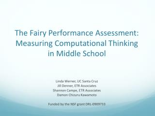 The Fairy Performance Assessment: Measuring Computational Thinking in Middle School
