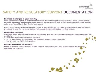 SAFETY AND REGULATORY SUPPORT  DOCUMENTATION
