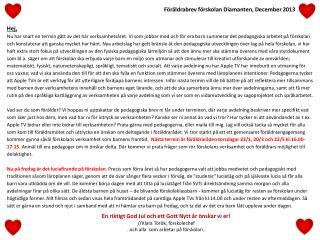 Föräldrabrev förskolan Diamanten, December 2013