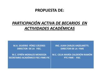 PROPUESTA DE:    PARTICIPACIÓN ACTIVA DE BECARIOS  EN ACTIVIDADES ACADÉMICAS