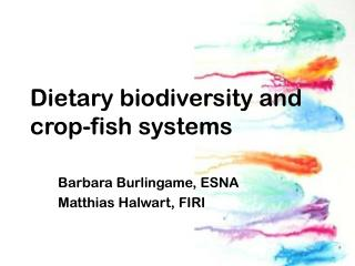 Dietary biodiversity and  crop-fish systems