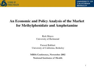 An Economic and Policy Analysis of the Market for Methylphenidate and Amphetamine