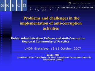 Problems and challenges in the implementation of anti-corruption activities