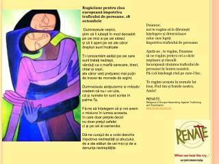 Rugăciune pentru ziua europeană împotriva traficului de persoane, 18 octombrie